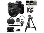 Sony 24.3 MP a7K ILCE-7K/B ILCE7KB Full-Frame Interchangeable Digital Lens Camera with 28-70mm Lens + Sony 64GB SDHC Memory Card + Replacement NP-FW50 Two Batteries and Charger + Sony Soft Carry Case