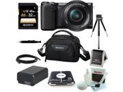Sony NEX-5TL 16 MP Compact Interchangeable Lens Digital Camera Kit with 16-50mm Power Zoom Lens with NFC and Wifi sharing (Black) + Sony LCSVA15  Camcorder Case + Kit