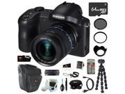 Samsung NX-GN120 Galaxy NX Camera 20.3MP Android 3G/4G Wi-FI Digital Camera with 18-55mm OIS Lens + 64GB Micro SDXC + Tiffen UV Protector & Circular Polarizer Filter + Micro HDMI Cable + Accessories