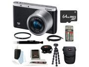 Samsung NX Mini Mirrorless Digital Camera with 9-27mm Lens and Flash (Black) + 64GB Micro SDHC Card + All In One High Speed Card Reader +Best Mirrorless Accessory Kit