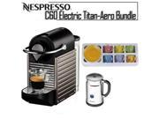 Nespresso Pixie C60 Electric Titan Espresso Machine + Set of 4 Ceramic Tiara Espresso Cups (3 oz) and Saucers