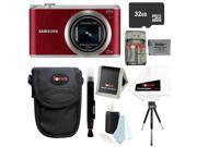 Samsung WB350F 16.3MP SMART Digital Camera w/ 23-483mm Lens in Red + 32GB Best Camera Accessory Kit