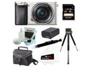 Sony a6000: Alpha a6000 24.3 MP Interchangeable Lens Camera with 16-50mm Power Zoom Lens (Silver) + Sony 16GB SD Card + Sony Case + Replacement NP-FW50 Battery for Sony + Accessory Kit
