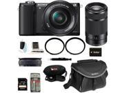 Sony a5000: Alpha A5000 Mirrorless Digital Camera (Black) with 16-50mm and 55-210mm Lens Bundle and 32GB Deluxe Accessory Kit