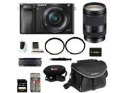 Sony Alpha A6000 Mirrorless Digital Camera with 16-50mm and 18-200mm Lens Bundle and 32GB Deluxe Accessory Kit