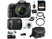 "Sony SLT-A58K SLT-A58 with 18-55mm Zoom Lens, 20.1MP DSLR Camera w/ 2.7"" LCD Screen (Black) + Sony SAL-552002 DT 55-200mm f/4-5.6 Telephoto Lens + Sony   32GB Memory Card + Sony Case + Accessory Kit"
