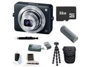 Canon PowerShot N 12.1 MP CMOS Digital Camera (Black) + 32GB microSD HC Memory Card + Rechargeable Canon Powershot Battery Replacement + Standard Medium Digital Camera Case + Kit