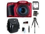 Canon PowerShot SX400 IS Digital Camera (Red) 32GB Accessory Bundle