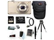 Sony DSC-WX220 DSCWX220/N 18.2 MP Digital Camera with 2.7-Inch LCD (Gold) with Sony 32GB SDHC Card + Replacement NP-BN1 Battery and Deluxe Accessory Bundle