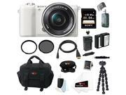 Sony a5100: Alpha a5100 ILCE5100L/W with 16-50mm Lens 24MP Mirrorless Interchangeable Lens Digital Camera (White) 64GB Bundle