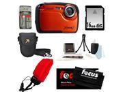 Coleman C12WP 16MP/HD Waterproof Camera (Orange) + 16GB SD HC Memory Card + Point & Shoot Camera Case + Accessory Kit