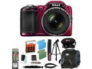 Nikon COOLPIX L830 Digital Camera (Red) with 32GB Deluxe Accessory Kit