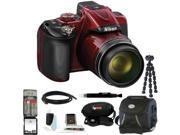 Nikon COOLPIX P600 (Red) with 64GB Deluxe Accessory Kit