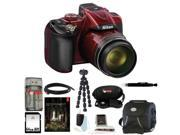 Nikon COOLPIX P600 Digital Camera (Red) with Adobe Photoshop Lightroom and 64GB Deluxe Accessory Kit