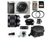 Sony a6000: Alpha a6000 ILCE-6000/B Interchangeable Lens Camera (Silver) with 16-50mm and 10-18mm Lens Bundle and 32GB Deluxe Accessory Kit