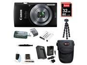 Canon PowerShot 160 ELPH IS Digital Camera (Black) with 32GB Deluxe Accessory Bundle
