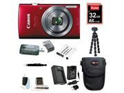 Canon PowerShot 160 ELPH IS Digital Camera (Red) with 32GB Deluxe Accessory Bundle