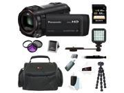 Panasonic HC-V250K 1080p Full HD Wi-Fi Enabled Camcorder with 50x Zoom (Black) with 64GB Accessory Bundle