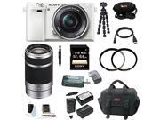 Sony a6000: Alpha a6000 Interchangeable Lens Camera with 16-50mm Power Zoom Lens (White) and Sony E 55-210mm F4.5-6.3 OSS Lens (Silver) plus 64GB Deluxe Accessory Bundle