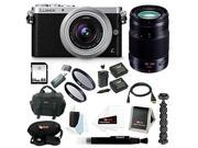 Panasonic Lumix DMC-GM1 Mirrorless Micro Four Thirds Digital Camera with 12-32mm & 35-100mm Lens Bundle (Silver)
