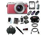 Panasonic DMC-GF7KP Compact System Camera 12-32mm Lens (Pink/Silver) + 64GB SD Card + Two Batteries and One Charger for Panasonic BLH7 + 37mm Three-Piece Filter Set + Deluxe Accessory Bundle