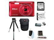Nikon S3700 COOLPIX Camera (Red) with 32GB Kit
