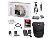 Canon PowerShot SX610 IS Digital Camera HS Digital Camera (White) with 32GB Deluxe Accessory Bundle