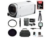 Canon Vixia HF R600 Camcorder (White) with 32GB Deluxe Accessory Bundle