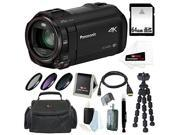 Panasonic HC-VX870 4K Ultra HD Camcorder with Wireless Smartphone Twin Video Capture with 64GB SD Card, 49mm 3-Piece Filter Set, SLR Case and Accessory Bundle