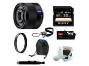 Sony Sonnar T* FE 35mm f/2.8 ZA Camera Lens SEL35F28Z + Sony 32GB SDHC/SDXC Class 10 UHS-1 Memory Card + Tiffen 49mm UV Protector + Bower Lens Pouch 4.5-Inch Basic + Deluxe Focus Accessory Kit