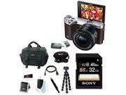 Samsung NX500 Mirrorless Digital Camera with 16-5mm Power Zoom Lens (Brown) + Sony 32GB SDHC/SDXC Memory Card + Focus DSLR Camera Accessory Kit with Micro HDMI Cable