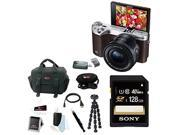 Samsung NX500 Mirrorless Digital Camera with 16-5mm Power Zoom Lens (Brown) + Sony 128GB SDHC/SDXC Memory Card + Focus DSLR Camera Accessory Kit with Micro HDMI Cable