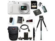 Panasonic DMC-ZS45W Digital Camera with 1-Inch LCD (White) with Sony 32GB SD Card + Medium Case + Replacement Battery and Charger for Panasonic DMW-BCM13 + Deluxe Accessory Bundle