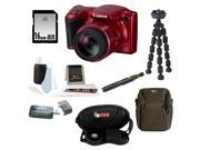 Canon Powershot SX410 Digital Camera (Red) and 16GB Accessory Bundle