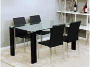 5-Piece Glass Top Rectangular Dining Set (Black)