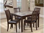 5-Piece Rectangular Dining Set (Dark Brown)