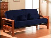 Futon with 8-Inch Pocket Coil Mattress and 2 Pillows (Lavish Cobalt)