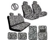 YupbizAuto New Premium Grade 15 Pieces Zebra Print Low Back Front Car Seat, Rear Bench Cover with Head Rest Cover and 4 Pieces Floor Mats Set