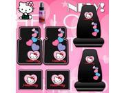 New 7pcs Hello Kitty Car Seat Covers, Rubber Floor Mats Set