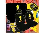 New Design 12 Pieces Tweety Bird Attitude Logo Car Seat Covers Set Includes Front and Rear Seat Covers, Steering Wheel Cover, Seat Belt Covers and a Travel Size Purple Slice