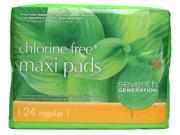 Seventh Generation, Maxi Pads, Chlorine Free, Regular, 24 pads