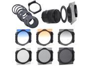 6x Filter ND2 ND4 ND8 + Gradual Grey Orange Blue 9x Adapter Ring for Cokin LF72