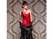 Corset Top Pure Red Sexy Boned Lace Up Back Bustier Satin Burlesque Rose S - 2XL WA004C