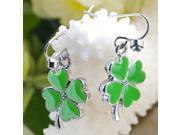 Silver FOUR LEAF CLOVER Plated Dangle Earrings E41