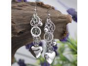 Hoop Fashion Heart Silver Plated Dangle Earrings E62