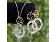 Snake skin Hoop silver plated Earring Necklace Set S12