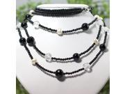 3-Rows Black Agate & Freshwater Pearl Necklace N103