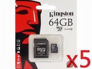 WholeSale 5 piece Kingston 64GB 64G MicroSDHC Micro SD XC SDXC Memory Card UHS-1 Class 10 C10 SDXC10/64GB W/ Adapter + Retail Packing HK082