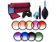 Xcsource® 52mm 9pcs Graduated Color Filter Kit For DSLR Nikon D5200 D7100 D7000 18-55mm More Colors With Lens Hood LF496