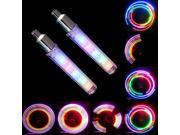 2pcs Cycling Bike Bicycle Motorcycle Car Tyre Tire Wheel Valve 5 LED Flash Light